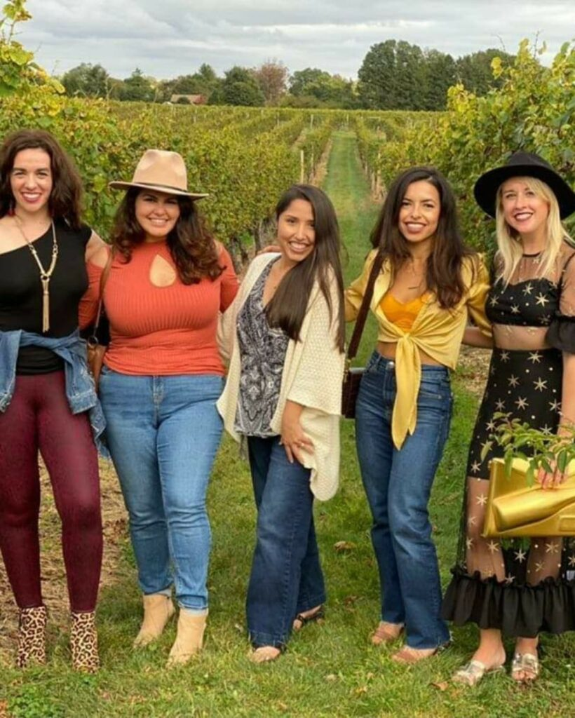 5 young women in stylish clothes at Working Dog Winery in New Jersey