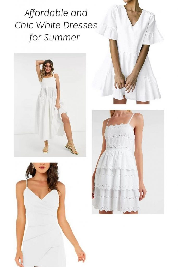 Four casual white dresses for the summer. One maxi dress, two midi and one with ruffles